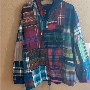Native American print pull over hoodie